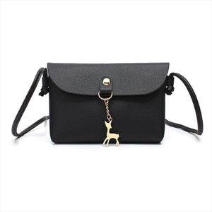 Womens Vintage Small Deer Pendant PU Leather Crossbody Shoulder Bag Trendy Gifts Black Drop Shipping Good Quality