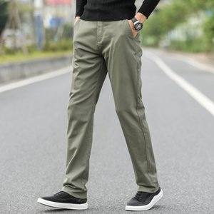 Men's straight casual pants high quality comfortable cotton 2020 autumn brand clothing business trousers army green black blue Z1126
