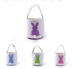 Easter Basket Bunny Easter Bunny Bags Rabbit Printed Canvas Tote Bag Egg Candy Baskets 4 Colors 50pcs DB427