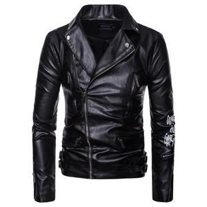 AOWOFS Men Motorcycle Coats Jaket Men Deri Mont Ceket Spring Leather Jacket Letter Print Leather Biker Jacket Plus Size 5XL