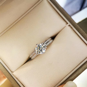 2021 New arrival S925 silver luxury quality sparkly diamond queen ring for women wedding gift drop shipping PS6431