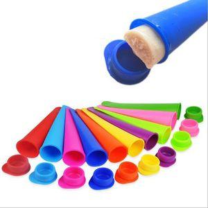 15 * 3.5 cm Molde de hielo de silicona Pop 7Color Popsicles Molde con tapa Helado Fabricantes Push Up Helado Jelly Lolly Pop para POMSICLE FWC3946