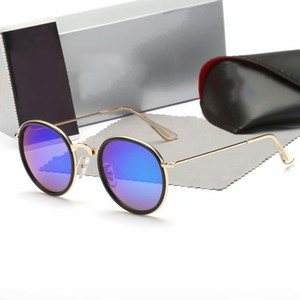 designer sunglasses women sunglasses mens sunglsses round metal real UV protect glass lenses with brown or black leather case, accessor3448!
