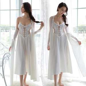 Autumn Winter Home Bathrobes Suit Women Sexy Satin Lingerie Lace Perspective Suspender Long Skirt Nightdress Plus Size Pajamas