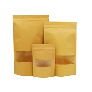 Wholesale Biodegradable Zipper Brown Kraft Paper Bags Tea Food Packaging Stand Up Paper Ziplock Bag