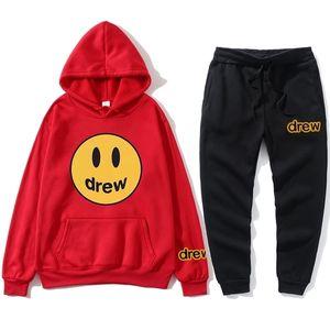 New Homens Hoodies Justin Bieber Drew Trackshirt Sweatshirt Hoodie Fleece + Calças de Suor Jogging Homme Pulôver Sporting Terno