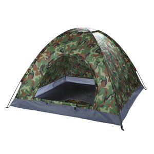 Outdoor Camouflage Tent Beach Tents Camping Tent For 3-4 Person Single Layer Polyester Fabric Waterproof Tents Carry Bag Z1123