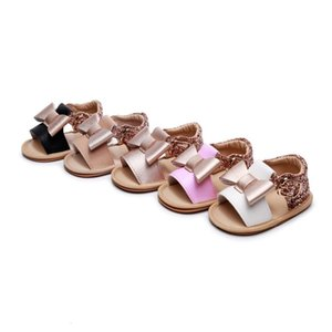 Girls New Baby Bowknot Princess Shoes Diamond Cute Newborn Infant Toddler Summer Sandals PU Non-slip Rubber ShoesSize 0-24M