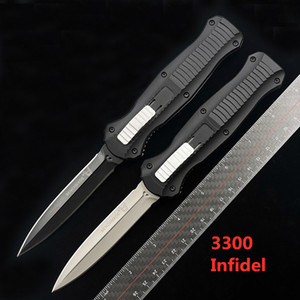Benchmade BM 3300 Infidel Double Action Pliant Couteau automatique D2 Blade Poignée en aluminium Poche extérieure Couteau de survie tactique automatique BM 3310