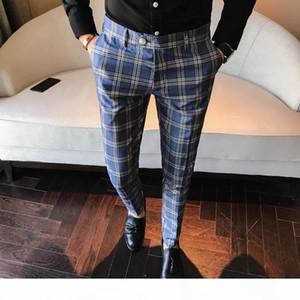 Mens fashion 2019 Men Dress Pant Plaid Business Casual Slim Fit Homme Classic Vintage Check Suit Trousers Wedding Pants