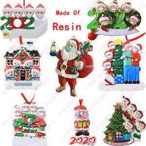 Nom de plein air quarantaine famille résine salutations de bricolage ornement de Noël décoration d'arbre pendentif fête noël céramique craftx