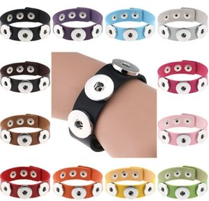 Bracelet Bangles 14 color High Quality PU leather Bracelets For Women 18mm Snap Button Jewelry Christmas Decorations Gift