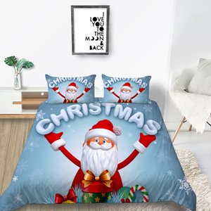 Merry Christmas 3D Bedding Set King Size Duvet Cover Set Bed Gifts High End Home Decoration Bed Set Pillowcase