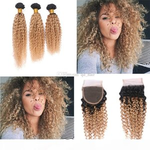 Dark Roots Ombre 1B 27 hair Weft With Closure 4x4 Honey Blonde 1B 27 bundles Top Lace Closure With Kinky Curly Hair Extension