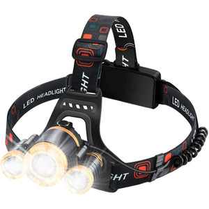 Headlamp Flashlight USB Rechargeable - LED Brightest 6000 lumens Work Headlight,IPX6 Waterproof & 18650 Flashlight with Zoomable Work Light