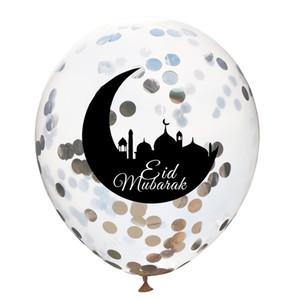 12 pollici palloncini Ramadan Kareem Sequin Transparent Latex Castle Moon Star Print Eid Mubarak Confetti Palloncini Fornitura del partito 0 75FN E19