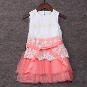 Clearance sale Lace Girls Embroidered Lace Gauze Bow Vest Dress Dresses Girl Prom Dresses Summer Princess Dress Z88