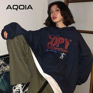Aqoia sonbahar Harajuku mektup baskı gevşek kadın hoodies ince sahte iki adet 2020 Kore tarzı boy kazak