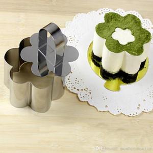 Molde de pastel Mini Mousse Moldetes de pastel de acero inoxidable Moldes de torta con pieza de empuje Tiramisu Cutter Cutter Herramientas de hornear DDY DDC4554