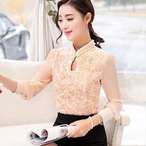 New Plus Size Women Chiffon Blouse Sexy Flower Beaded Lace Tops Long Sleeved Casual Shirt Patchwork Women Clothing