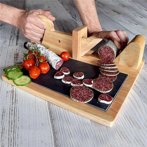 Wooden sausage cut Natural Oak Food Cutter Sausage-Slicer With Stainless Steel Blade Meat Cutting Tool For Kitchen Camping YYF3707