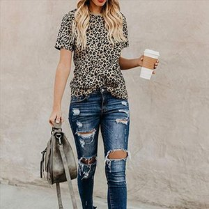 2020 Spring Summer New Women T shirt Casual Leopard Print Round Neck Short Sleeve Shirt Ladies Tops Tees Womens Clothing Tops