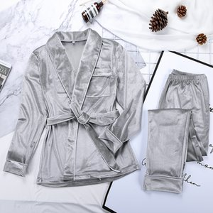 Velvet Warm Pajamas For Women Robes And Pants Solid Pocket Long Sleeve Thick Home Wear Autumn Night Suit Winter Casual