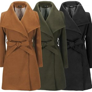 Blends Coats Womens Designer Lapel Neck Long Sleeve Autumn Winter Outerwear Clothes With Sash OL Style Women Slim Coats Solid Color Wool
