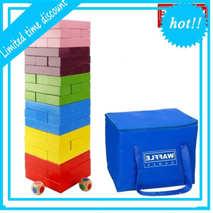 WAFFLE GAMES Premium Giant Wooden Rainbow Stacking Blocks