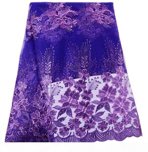 Purple French Lace Fabric Beaded African Lace Fabric High Quality Lace Embroidered Fabric for Nigerian Evening Prom Dresses