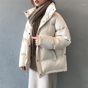 NEW fashion women's winter down jacket stand collar short single-breasted coat preppy style parka ladies chic outwear female1