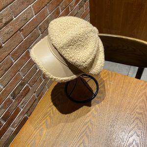 2020 trousers, lamb beret, painter's hat, fashion, stitching, deerskin fabric, temperament, adjustable size, black beige.