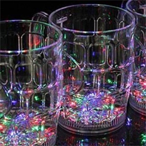Exquisite LED Flashing Wine Glasses Transparent Water Induction Beer Tumbler Colorful Whisky Cup With Handle For Bar KTV Small 6 9jc cc