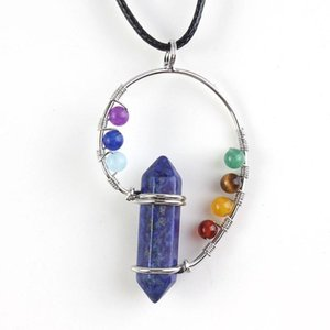 Silver Plated Wire with 7 Colors Small Beads Hexagon Column Pendant Lapis Lazuli Necklace Healing Chakra Jewelry