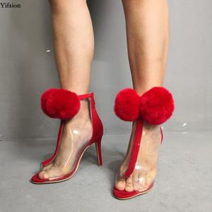 Olomm Women Transparent Summer Ankle Boots Stiletto High Heels Boots Peep Toe Gorgeous Red Dress Shoes Women Plus US Size 5-15