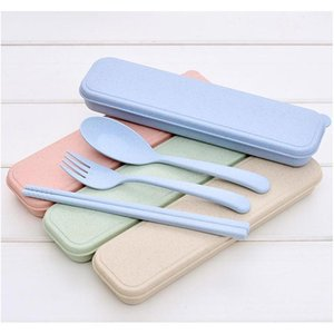 nordic style wheatstraw portable tableware travel dinnerware eco-friendly dinner set environmental case fork spoon set cutlery