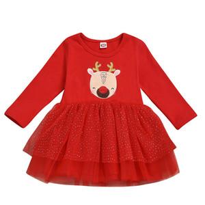 Autumn 2021 New Baby Children Christmas Winter Red Dress Cartoon Pattern Printed Long Sleeve Tutu Skirt Kids Wear Clothes Lababy56