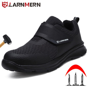 Sapatos de Trabalho Larnmern Sapatos de Aço Segurança Sapatos de Segurança Construção Protetora Botas à Prova de Choque Botas HookLoop Sneakers Segurança LJ201214