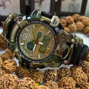 Shiyunme Homens Assista Militar 50 metros À Prova D 'Água Compasso LED Digital Quartzo Dual Display Esportes Assista Masculino Relogio Masculino 201212