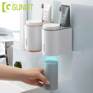 GUNOT Magnetic Toothbrush Holder Wall Mount Toothpaste Toothbrush Holder With 2 Cup Home Storage Shelf Bathroom Accessories Set