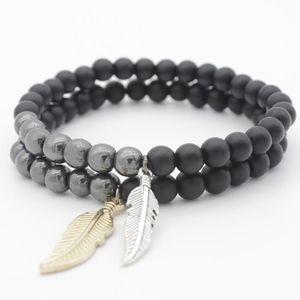 2020 New 6mm Black Matte Beads Bracelet Gold Silver Color Leaves Pendant Charm Bracelets Bangles For Men Women Jewelry Gift