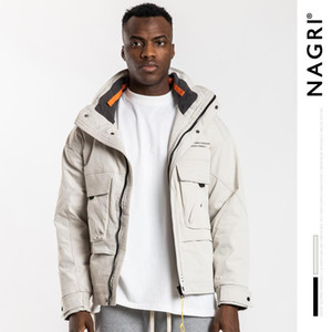 Mimi European and American popular logo new winter NAGRI collar tooling with thick warm fashion leisure men's down jacket