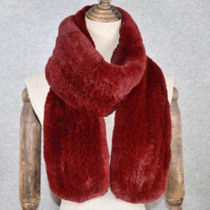 Luxury-Outdoor Long Style Real Genuine Rex Fur Scarf Winter Knitted Rex Fur Ring Scarves New Women Scarfs