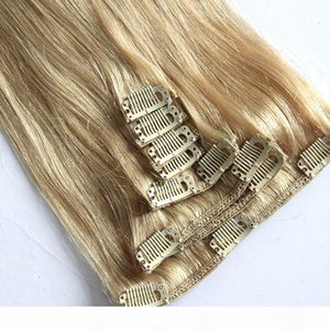 Grade 9A--Color 8# 100Gram set Clip in hair extensions 8pcs set 18inch & 7pcs set 18inch straight wave hair extension,free DHL