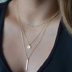 Fashion Circl & Sitck Shape Pendant Necklace Trendy Women's Simple Chorker Necklace Birthday Gift Golden Color only