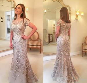 Elegant Champagne Mother of the Bride Dresses Short Sleeves Lace Long Formal Godmother Wedding Party Guests Gowns Plus Size Evening Dress