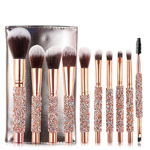 Makeup Brushes Set 10pcs Diamond Handle Crystal Makeup Brush for Face and Eyes Professional Foundation Eyeshadow Cosmetic Tools