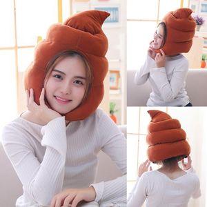 Creative Mignon Shit Shape Shape Chapeau en peluche Toy Fabriqué Fake Fake Poop Plein Headgear Cap Gag cadeau Cosplay Party Photo accessoires