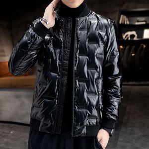 Autumn Winter Down Bomber Jacket Men Warm Duck Down Jackets Fashion Street Slim Fit Light Coats Windbreaker Baseball Outerwear Y1120