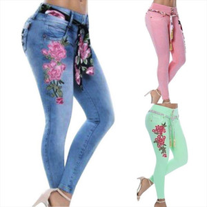 Plus Size 5XL Bohemian Jeans Woman Sexy Skinny Jeans Floral Embroidery Jean Pencil Denim Pants Casual High Waist Pants